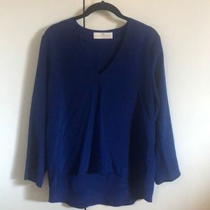 Amanda Uprichard Long Sleeve Silk Blue Blouse